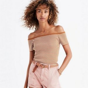Madewell off the shoulder stripe sweater top
